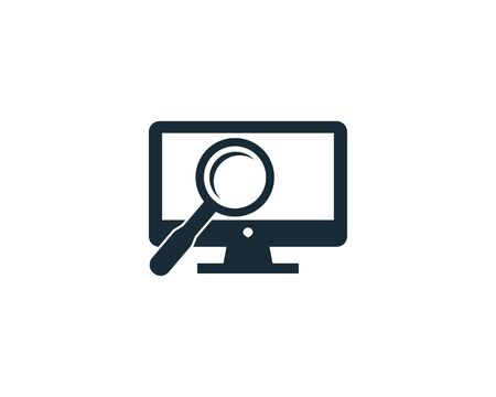 Screen, Monitor and Magnifying Glass Icon Vector Logo Template Illustration Design Archivio Fotografico - 142506917