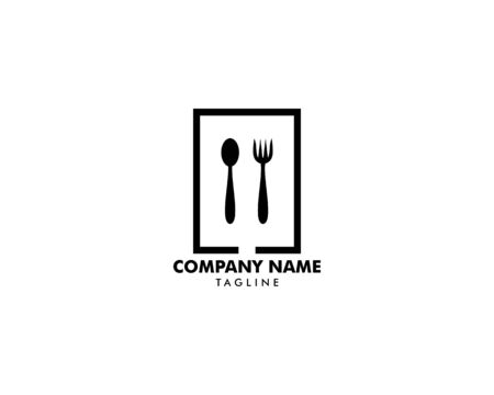 Logo restaurant with cutlery, A spoon and fork vector illustration Archivio Fotografico - 142506926