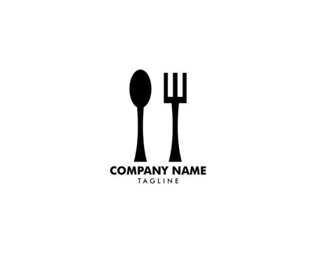 Logo restaurant with cutlery, A spoon and fork vector illustration Archivio Fotografico - 142506923