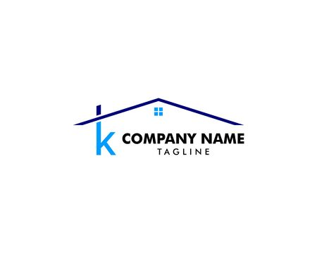 Letter K Roof House Logo Design Template Archivio Fotografico - 142506922