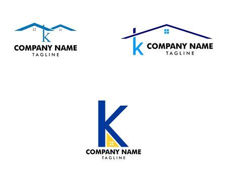 Set of Letter K Roof House Logo Design Template Archivio Fotografico - 142506951