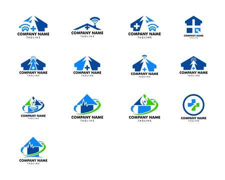 Set of Medical Online Logo Design Template Element Logo