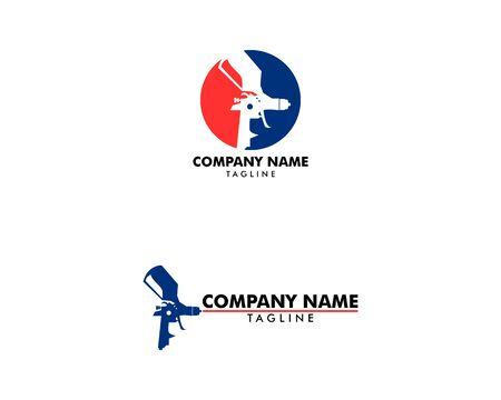 Set of Paint Spray Gun Logo Template Design