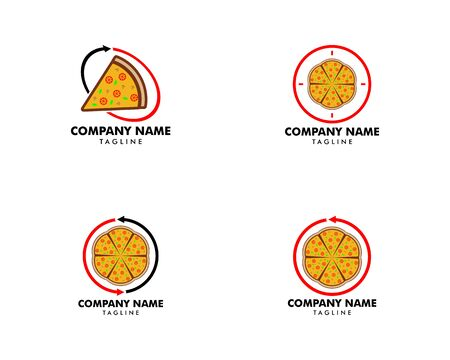 Set of Pizza Logo Design Vector Stock, Pizza Delivery Logo Illustration, Pizza 24 Hours Logo, Pizza Fast Food Sign Icon