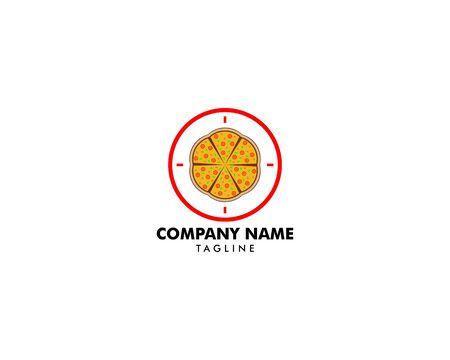 Pizza Logo Design Vector Stock, Pizza Delivery Logo Illustration, Pizza 24 Hours Logo, Pizza Fast Food Sign Icon Illustration