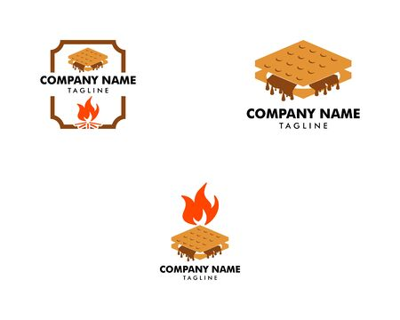 Set of S'more graham cracker, chocolate, and marshmallow logo template design 向量圖像