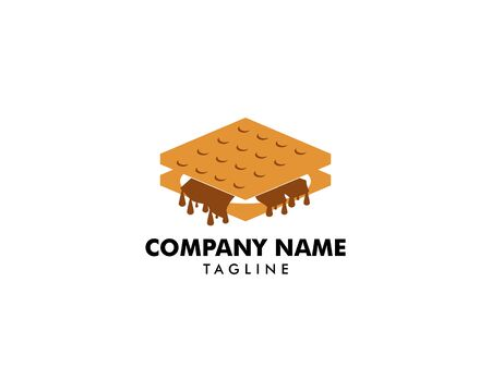 S'more graham cracker, chocolate, and marshmallow logo template design 向量圖像