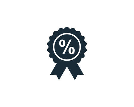 Percentage Ribbon Rosette Seal Icon Vector Logo Template Illustration Design