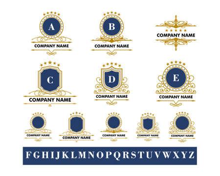 Set of Royal Luxury Crest Logo Template Illustration