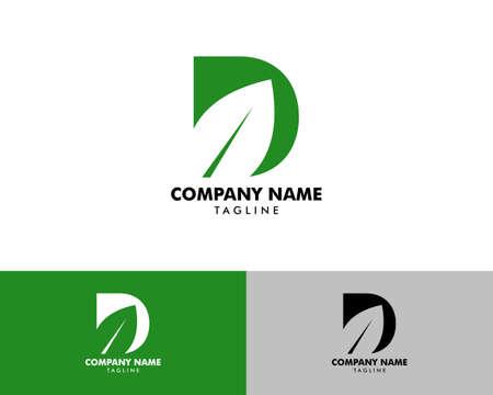 Initial Letter D Leaf Logo Design Template Element