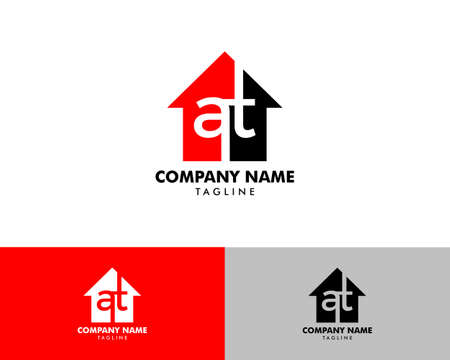 Initial Letter AT House Real Estate Design