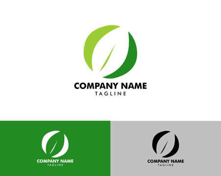 Initial Letter O with Leaf Logo Logo