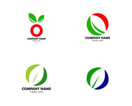 Set of Initial Letter O with Leaf Logo Ilustrace