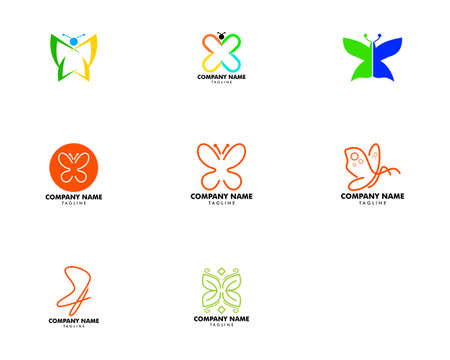 Set of Beauty Butterfly Logo Template Vector Icon Design