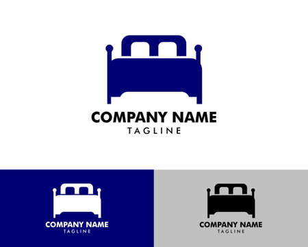 Furniture bed logo template, Bed logo vector