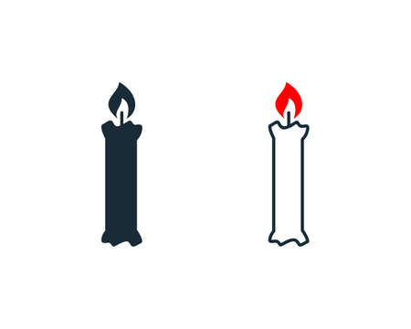 Candle Flame Fire Icon Vector Logo Template Illustration Design