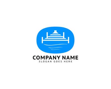 Beach Pier Dock Logo Design Vector