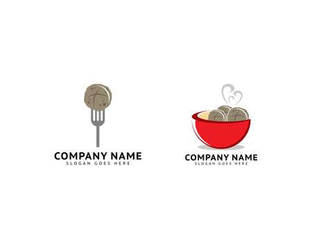 Set of Meatball bakso logo template vector illustration 向量圖像