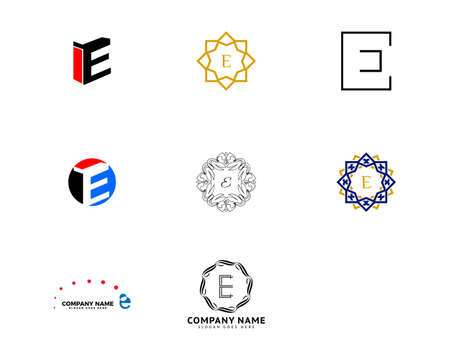 Set of Initial Letter E Logo Template Design Ilustracja