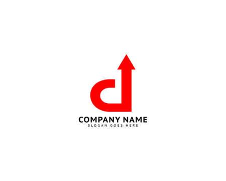 Initial letter D arrow logo design template