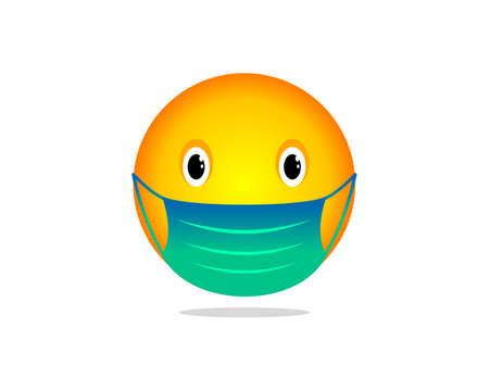 Vector illustration of emoticon wearing medical mask