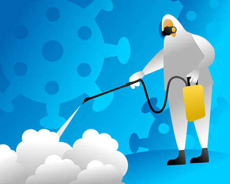 Vector illustration of a man in protective suit spraying disinfectant to cleaning and disinfect virus, Covid-19, Coronavirus, Preventive measure Ilustracja