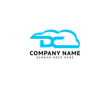 Initial Letter DC Logo with Cloud Element