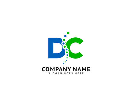 Chiropractic with letter DC concept logo designs vector