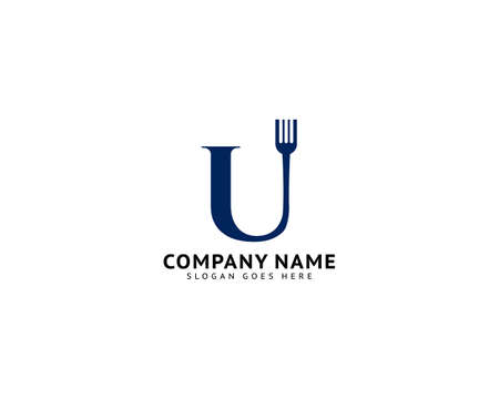 Initial Letter U with Fork for Restaurant Logo Design Ilustracja
