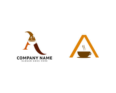 Set of Initial Letter A Coffee Logo Icon Design Template Elements Ilustracja