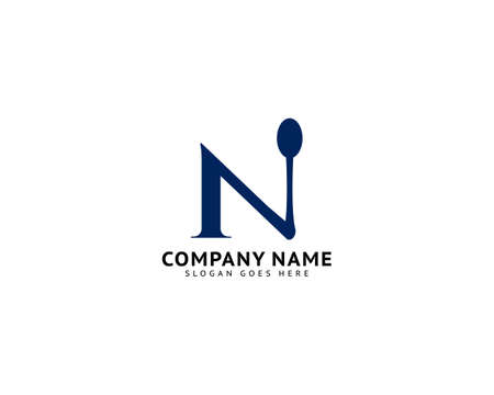 Initial Letter N with Spoon for Restaurant Logo Design Ilustracja