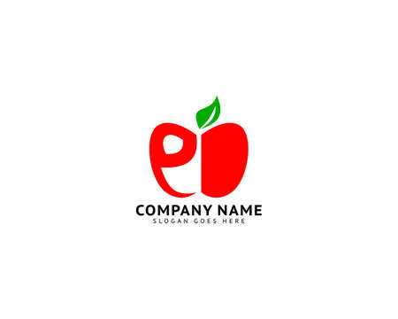 Initial Letter E with Apple Fruit Logo Template Design Illustration
