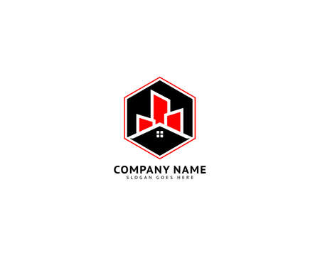 City building skyline house apartment vector logo design template Ilustracja
