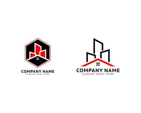 Set of City building skyline house apartment vector logo design template Ilustracja