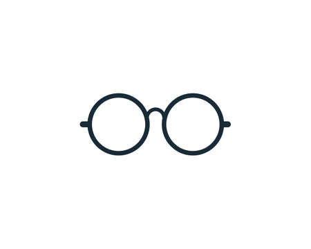 Retro Circle Eyeglasses Icon Vector Logo Template Illustration Design