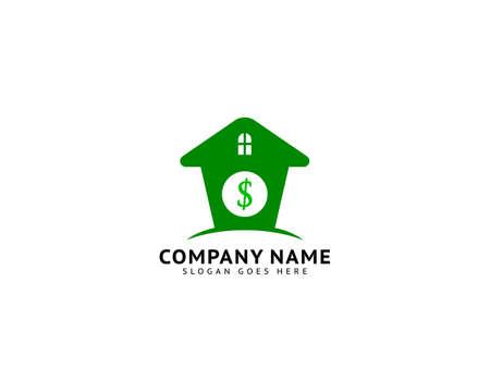 House with dollar money symbol vector icon logo design