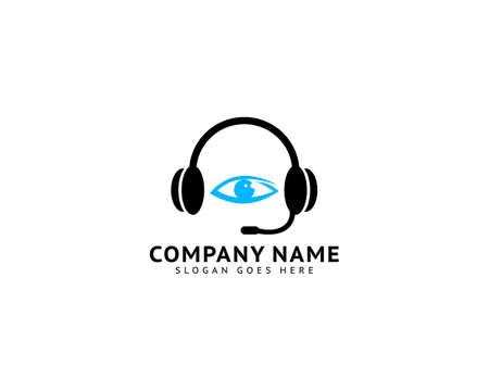 Headphone logo design combined with eye vector