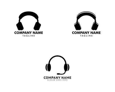 Set of Headphone earphone icon logo vector design 向量圖像