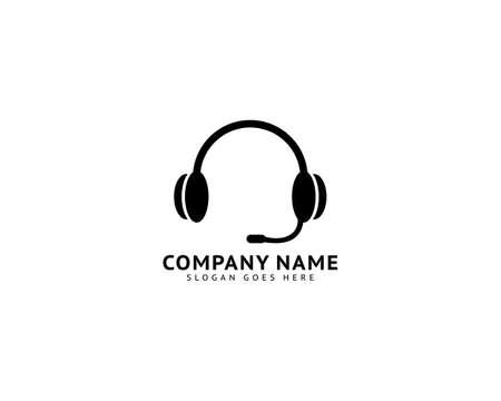Headphone earphone icon logo vector design
