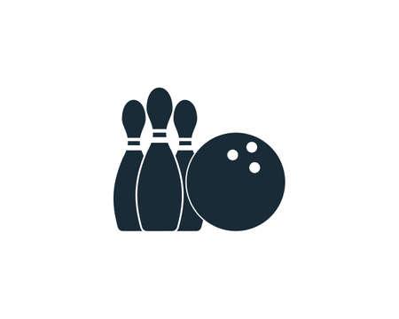 Bowling Sport Icon Vector Logo Template Illustration Design Çizim