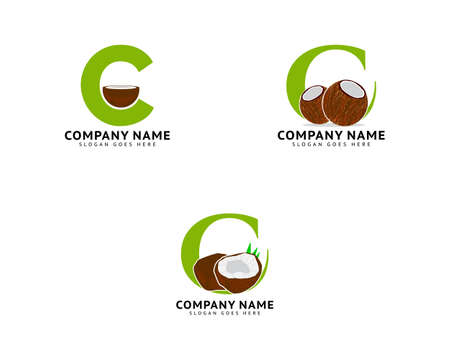 Set of Initial Letter C Coconut Logo