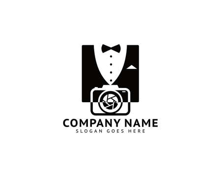 Camera with Bow Tie Suit Tuxedo Gentlemen for Fashion Photographer Logo Design Inspiration