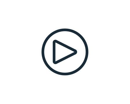 Line Art Play Button Icon Vector Logo Template Illustration Design Illustration