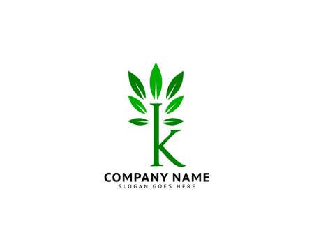 Letter K Leaf Initial Logo Template