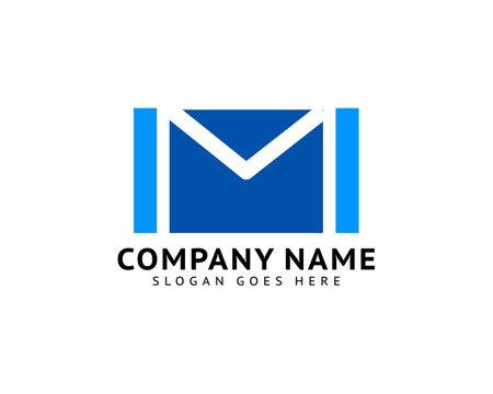 Initial letter m envelope mail design logo vector