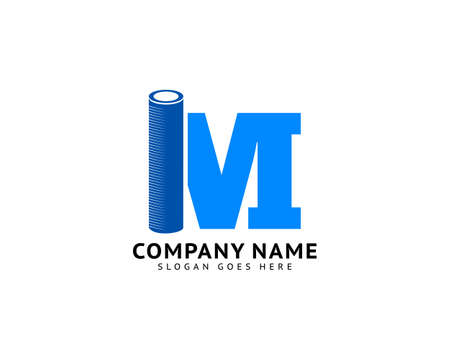 Initial letter M plumbing pipe logo template vector icon illustration design