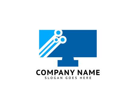 Tech logo vector template, Digital screen circuit logo design