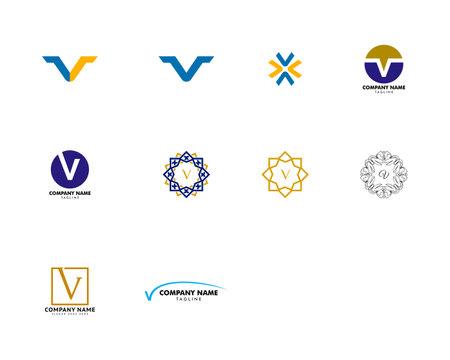Set of Initial Letter V Logo Template Design Illustration