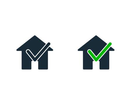 Check Mark Home or House Icon Vector Logo Template Illustration Design