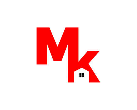 Initial Letter MK House Real Estate Logo Design Illustration